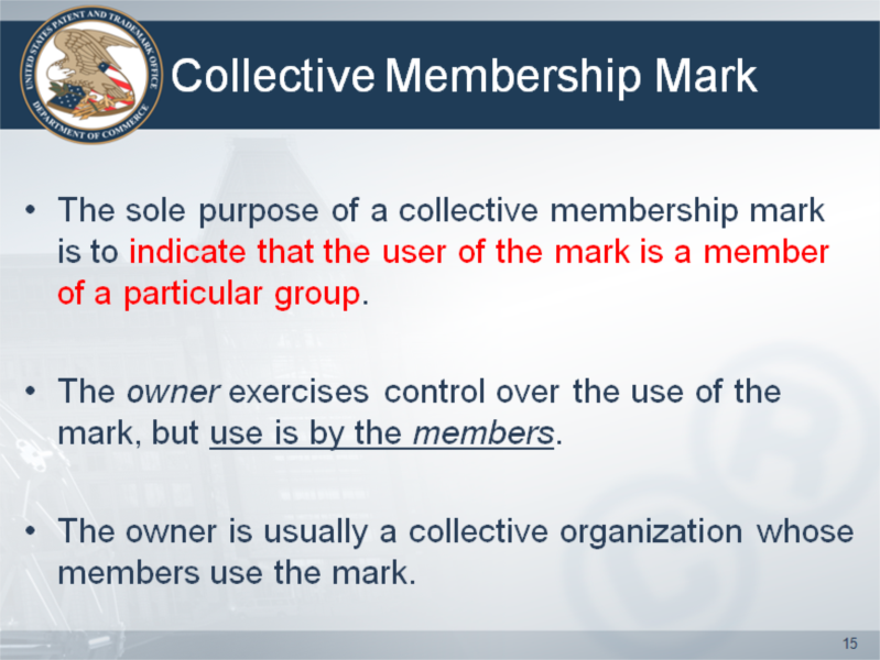 Certification and collective marks.